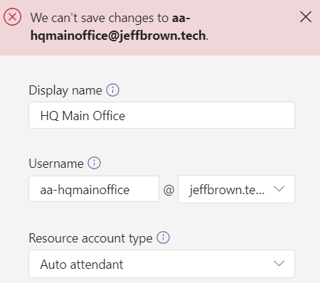 Error when creating resource account in Teams admin center