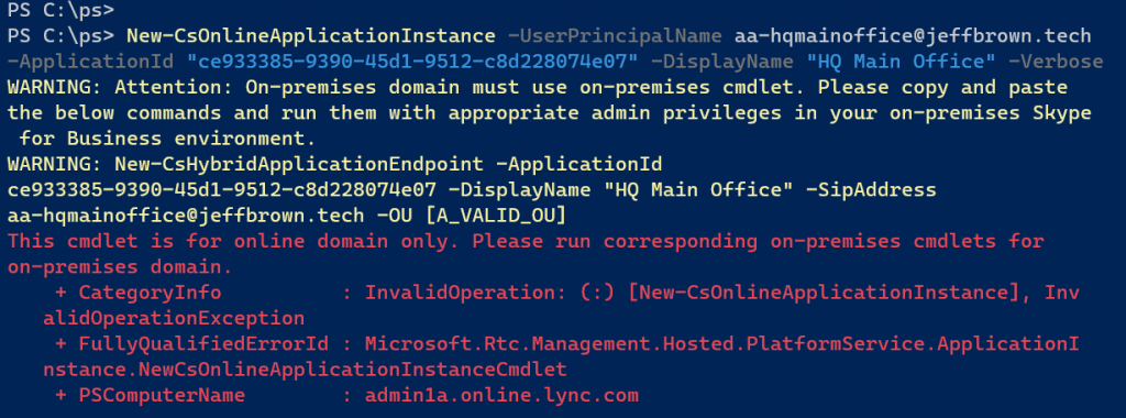 Error running New-CsonlineApplicationInstance for creating auto attendants and call queues
