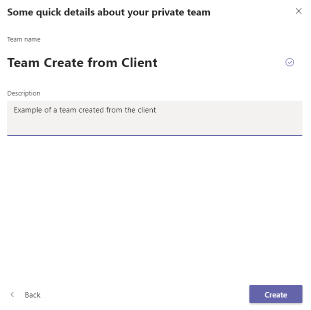 Creating a team from the Teams client