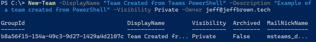 Creating a team in PowerShell