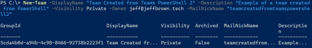 Creating a team in PowerShell and specifying the MailNickname property