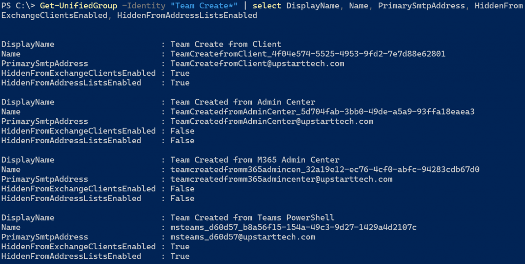 Comparing teams and groups using Get-UnifiedGroup PowerShell cmdlet