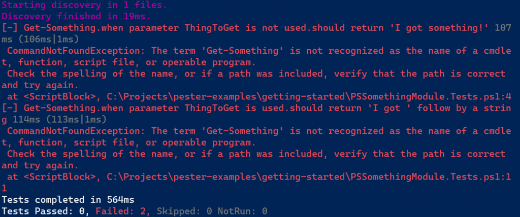 Pester does not recognize the commands from the module