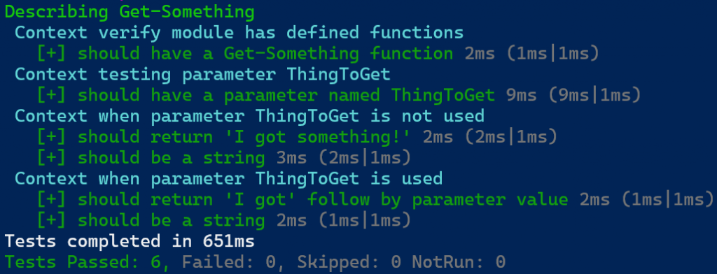 PowerShell output of our updated Pester test script