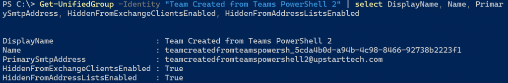 Team created from PowerShell with specified MailNickname value