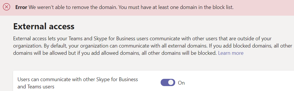 Microsoft Teams – Removing the Last Blocked Domain in External Access