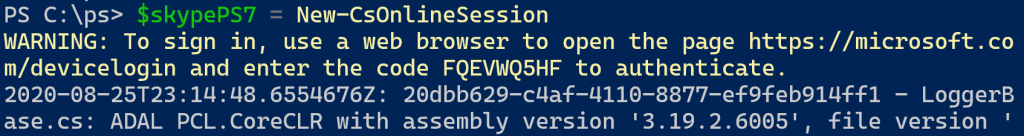 Creating Skype Online remote session in PowerShell 7