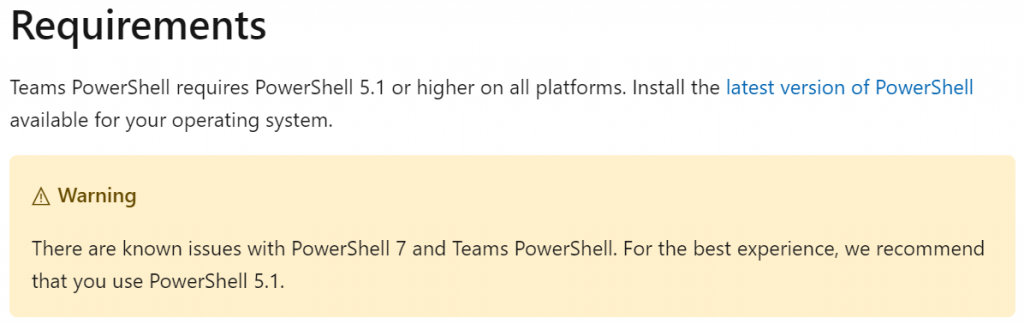 Microsoft Docs warning about PowerShell 7 and the Teams module.