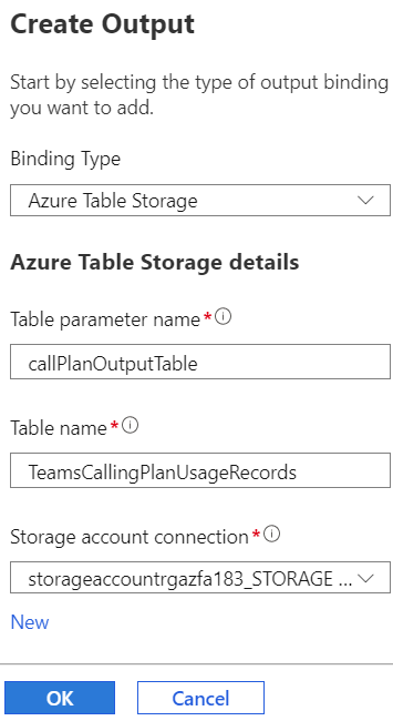 create azure function output