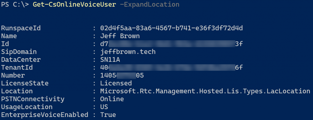 Voice user with Teams emergency address object