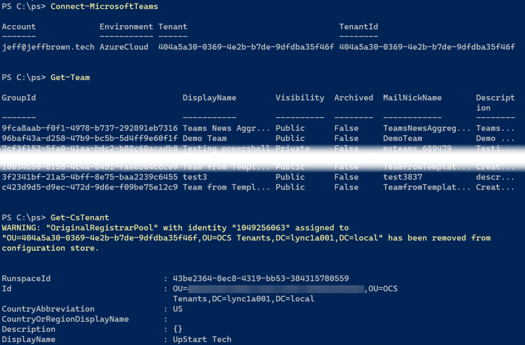 powershell connect-microsoftteams