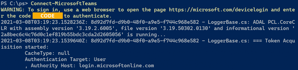 powershell device authentication