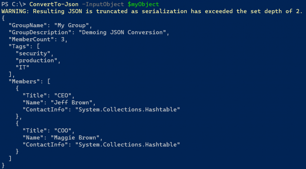 powershell 7 convertto-json warning