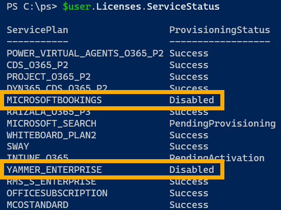 office 365 services powershell