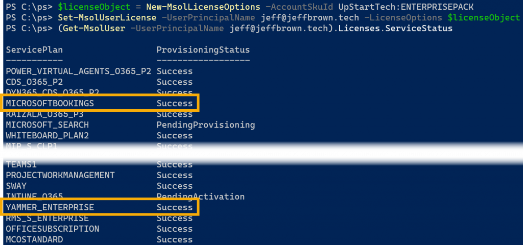 office 365 license services powershell