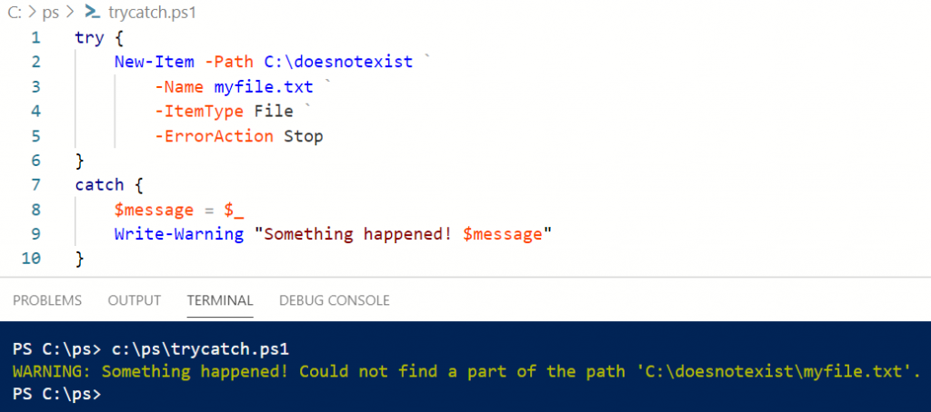 try catch error messages