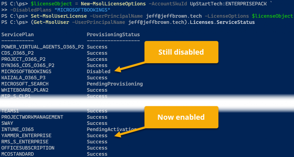 office 365 license powershell