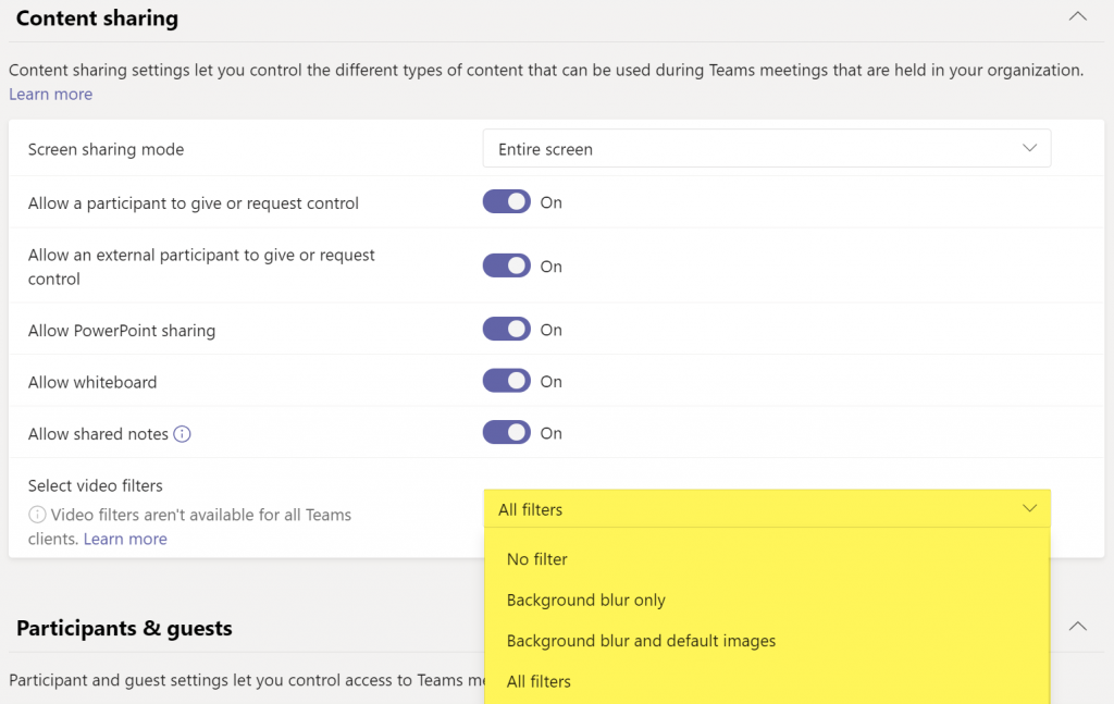 Microsoft Teams background options in meeting policy in admin center