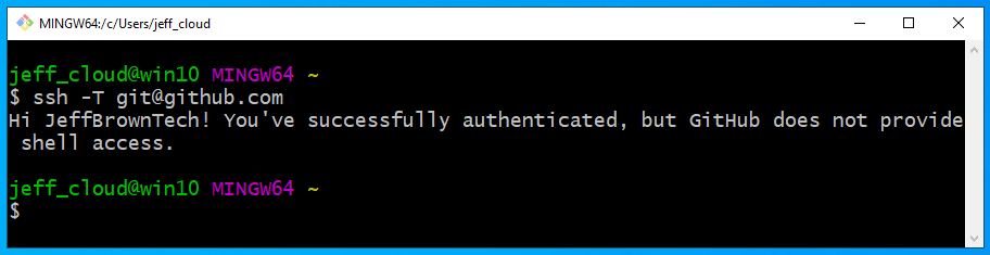 test ssh connection to github